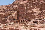 The Urn Tomb, a Royal Tomb in the ruins of the Nabataean city of Petra in the Petra Archeological Park in the Hashemite Kingdom of Jordan.  A UNESCO World Heritage Site.