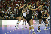 16 December 2006: Stanford Cardinal Jessica Fishburn, Bryn Kehoe, Erin Waller, Foluke Akinradewo, and Kristin Richards during Stanford's 30-27, 26-30, 28-30, 27-30 loss against the Nebraska Huskers in the 2006 NCAA Division I Women's Volleyball Final Four Championship match at the Qwest Center in Omaha, NE.