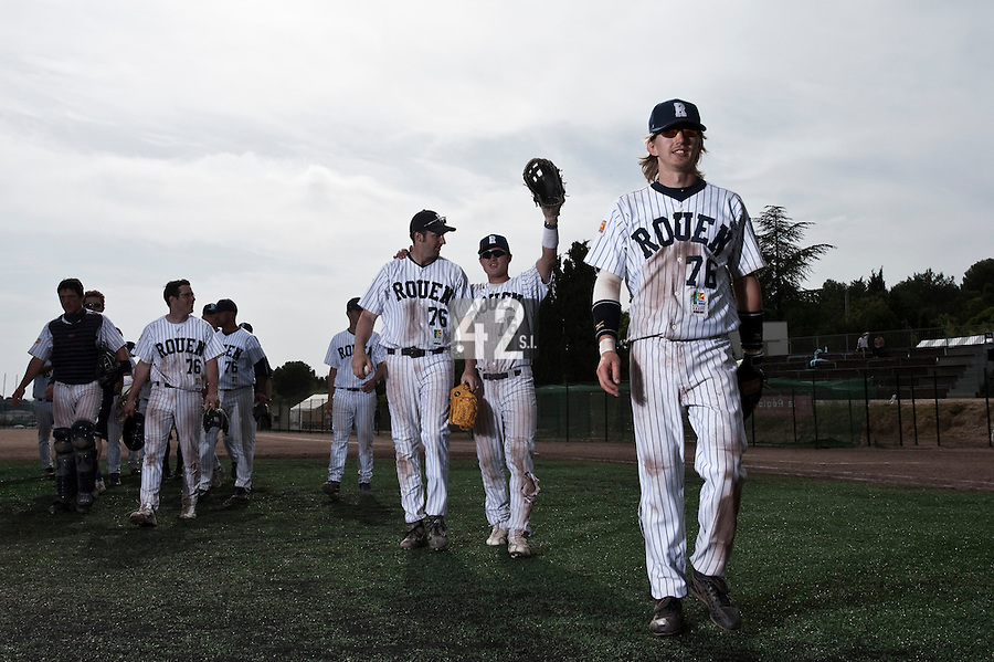 23 May 2009: Team Rouen is seen during the 2009 challenge de France, a tournament with the best French baseball teams - all eight elite league clubs - to determine a spot in the European Cup next year, at Montpellier, France. Rouen wins 6-2 over La Guerche.
