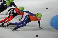 SCHAATSEN: DORDRECHT: Sportboulevard, Korean Air ISU World Cup Finale, 11-02-2012, Guillaume Bastille CAN (6), Niels Kerstholt NED (61), ©foto: Martin de Jong