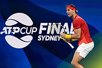 12th January 2020; Sydney Olympic Park Tennis Centre, Sydney, New South Wales, Australia; ATP Cup Australia, Sydney, Day 10; Serbia versus Spain; Novak Djokovic of Serbia versus Rafael Nadal of Spain; Rafael Nadal of Spain reacts after winning a point in his match against Novak Djokovic of Serbia - Editorial Use