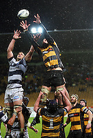 Taranaki's Jarrad Hoeta goes up for lineout ball. Air New Zealand Cup rugby match - Taranaki v Auckland at Yarrows Stadium, New Plymouth, New Zealand. Friday 9 October 2009. Photo: Dave Lintott / lintottphoto.co.nz