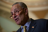 United States Senate Minority Leader Chuck Schumer (Democrat of New York) speaks during a press conference following policy luncheons on Capitol Hill in Washington D.C., U.S. on September 17, 2019.<br /> <br /> Credit: Stefani Reynolds / CNP