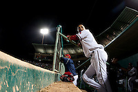 Leonys Martin (20) of the Frisco RoughRiders in the dugout during a game against the North All-Stars 2011 in the Texas League All-Star game at Nelson Wolff Stadium on June 29, 2011 in San Antonio, Texas. (David Welker / Four Seam Images)..