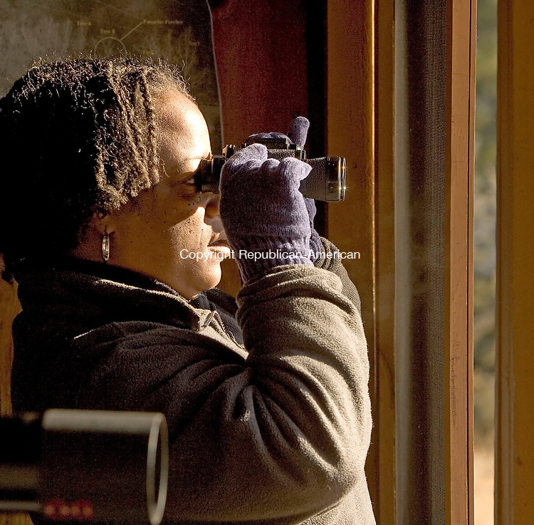SOUTHBURY, CT- 13 JANUARY 2008-011308JS08--Dinah Ralph of Waterbury looks through a pair of binoculars during her first visit to the Shepaug Eagle Observation Area at the Shepaug Dam in Southbury. <br /> Jim Shannon / Republican-American