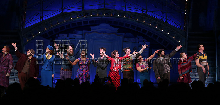 Tony Sheldon, Randy Blair, Alison Cimmet, Paul Whitty, Harriett D. Foy, Adam Chanler-Berat, Phillipa Soo, Manoel Felciano, Maria-Christina Oliveras, Alyse Alan Louis, Heath Calvert during the Broadway Opening Night Performance Curtain Call for 'Amelie' at the Walter Kerr Theatre on April 3, 2017 in New York City