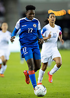 HOUSTON, TX - JANUARY 31: Mikerline Saintfelix #17 of Haiti during a game between Haiti and Costa Rica at BBVA Stadium on January 31, 2020 in Houston, Texas.