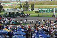 Race fans enjoy the start of the 5th race at Turfway Park in Florence, Kentucky on Saturday March 24th, 2012.