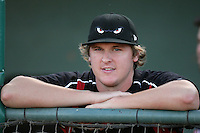 Brad Brach of the Lake Elsinore Storm during game against the Lancaster JetHawks at Clear Channel Stadium in Lancaster,California on September 1, 2010. Photo by Larry Goren/Four Seam Images