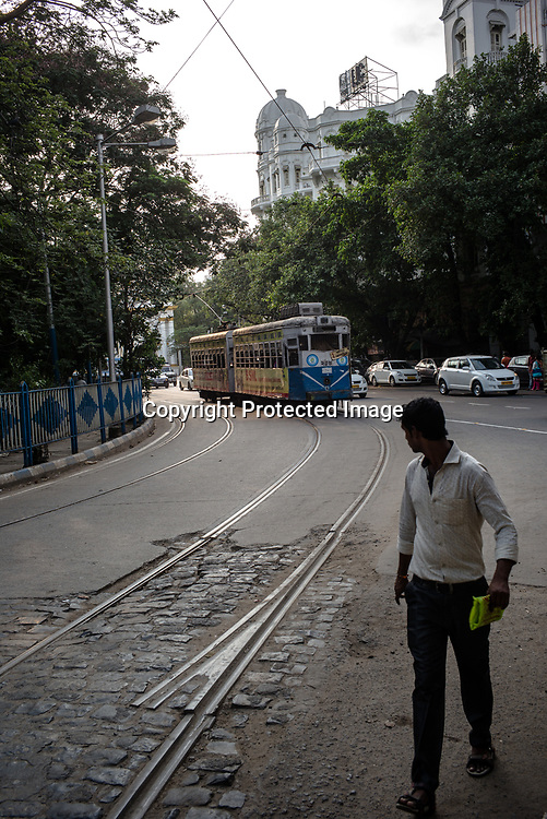 A Kolkata Tram approaches the Esplanade station in Kolkata, West Bengal  on Friday, May 26, 2017. Photographer: Sanjit Das