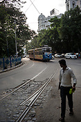 A Kolkata Tram approaches the Esplanade station in Kolkata, West Bengal  on Friday, May 26, 2017. Photographer: Sanjit Das