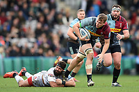 Alex Dombrandt of Harlequins takes on the Gloucester Rugby defence. Gallagher Premiership match, between Harlequins and Gloucester Rugby on March 10, 2019 at the Twickenham Stoop in London, England. Photo by: Patrick Khachfe / JMP