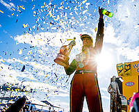 Feb 26, 2017; Chandler, AZ, USA; NHRA top fuel driver Leah Pritchett celebrates after winning the Arizona Nationals at Wild Horse Pass Motorsports Park. Mandatory Credit: Mark J. Rebilas-USA TODAY Sports