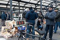Taxi in sciopero contro le liberalizzazioni, assemblee spontanee dei tassisti in stazione Centrale. Milano, 19 gennaio 2012..Taxis on strike against the government's liberalization measures. Spontaneous assemblies of taxi drivers in Central station. Milan, Genuary 19, 2012.
