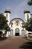 Cathedral on the Zocalo in old Acapulco, Guerrero, Mexico. This  unusual Moorish style cathedral dates back to the 1930's.