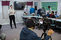 Earthjustice attorney Alexis Andiman at a REACH meeting that organizes the community against CAFOs in Warsaw, North Carolina Wednesday, November 14, 2018. (Justin Cook)