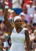27-06-13, England, London,  AELTC, Wimbledon, Tennis, Wimbledon 2013, Day four, Serena Williams (USA) waves to the crowd after she won her second round<br /> <br /> <br /> <br /> Photo: Henk Koster