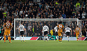 8th September 2017, Pride Park Stadium, Derby, England; EFL Championship football, Derby County versus Hull City; Sebastian Larsson of Hull City taking the penalty kicks the ball over the crossbar as Derby County Goalkeeper Scott Carson dives the opposite direction