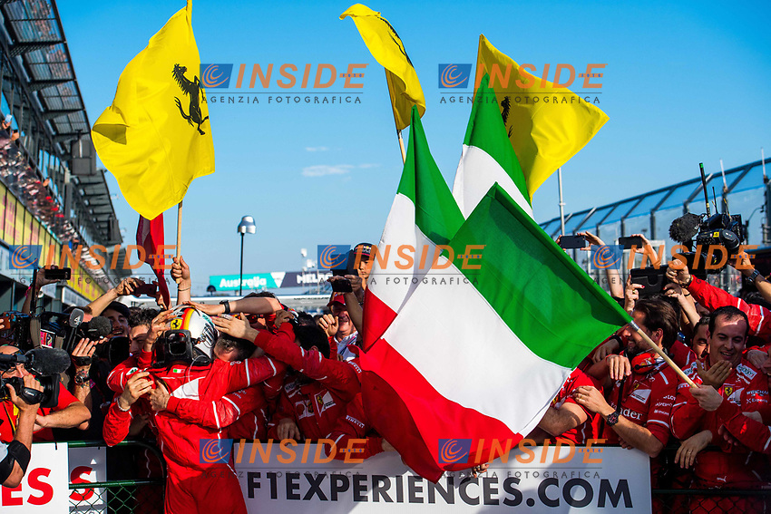 Race winner Sebastian Vettel (GER) Ferrari celebrates in parc ferme at Formula One World Championship, Rd1, Australian Grand Prix, Race, Albert Park, Melbourne, Australia, Sunday 26 March 2017.<br /> Foto Sutton/Panoramic/Insidefoto