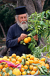 Near Polis, Priest selling oranges, Cyprus. Zypern.