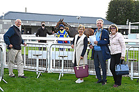Connections of the winner of The Persian Punch Conditions Stakes Trueshan ridden by Martin Harley and trained by Alan King outside the Winners enclosure  during Horse Racing at Salisbury Racecourse on 11th September 2020