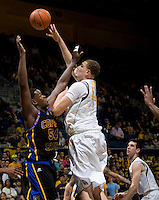 Kameron Rooks of California shoots the ball during the game against Coppin State at Haas Pavilion in Berkeley, California on November 8th, 2013.    California defeated Coppin State, 83-64.