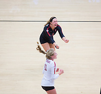 STANFORD, CA - November 4, 2018: Morgan Hentz, Kate Formico at Maples Pavilion. No. 2 Stanford Cardinal defeated the Utah Utes 3-0.