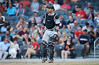 Carolina Mudcats catcher Payton Henry (15) during the game against the Fayetteville Woodpeckers at SEGRA Stadium on May 18, 2019 in Fayetteville, North Carolina. The Mudcats defeated the Woodpeckers 6-4. (Brian Westerholt/Four Seam Images)