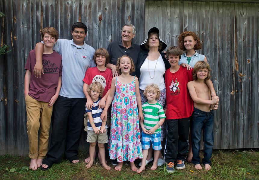 Grandparents and grandchildren. Family Portraits. The Barn. Bridgehampton, New York 2012