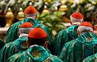 Cardinals attend the Mass for the opening of the Synod of Bishops for the Amazon region, celebrated by the Pope in St. Peter's Basilica at the Vatican, October 6, 2019.<br /> UPDATE IMAGES PRESS/Riccardo De Luca<br /> <br /> STRICTLY ONLY FOR EDITORIAL USE