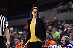 CHARLOTTESVILLE, VA - FEBRUARY 15: Virginia head coach Joanne Boyle. The University of Virginia Cavaliers hosted the University of Notre Dame Fighting Irish on February 15, 2018 at John Paul Jones Arena in Charlottesville, VA in a Division I women's college basketball game. Notre Dame won the game 83-69.