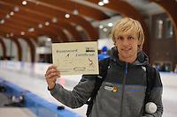 SCHAATSEN: LEEUWARDEN, 22-10-2016, Elfstedenhal, KNSB Trainingswedstrijden, Ronald Mulder, baanrecord 500 meter 35.12, ©foto Martin de Jong