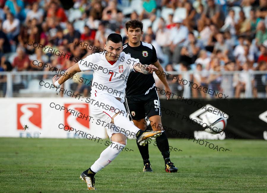 Fudbal Soccer<br /> Reprezentacija Srbije U21<br /> Kvalifikacije za U21 EURO 2019<br /> Srbija U21 v Gibraltar U21<br /> Nemanja Radonjic (L) and Theo Pizarro, #9 (Football team of Gibraltar)<br /> Jagodina, 09.01.2017.<br /> foto: Srdjan Stevanovic/Starsportphoto &copy;