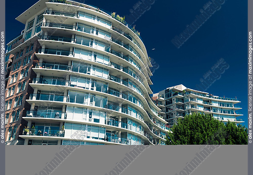 Modern luxury condo building in downtown Victoria, BC on a sunny summer day. Victoria, Vancouver Island, British Columbia, Canada 2017.