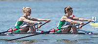 Brandenburg. GERMANY. IRL LW2X. Bow, Claire LAMBE and Sinead JENNINGS, at the start of their heat. <br /> 2016 European Rowing Championships at the Regattastrecke Beetzsee<br /> <br /> Friday  06/05/2016<br /> <br /> [Mandatory Credit; Peter SPURRIER/Intersport-images]
