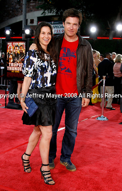 "Actor Jason Bateman and wife Amanda Bateman arrive at the Los Angeles Premiere Of ""Tropic Thunder"" at the Mann's Village Theater on August 11, 2008 in Los Angeles, California."