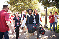 Stanford, CA - September 8, 2018: Team arrives before the start of the the Stanford vs USC football game Saturday night at Stanford Stadium.<br /> <br /> Score was USC3, Stanford 17.