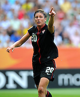 Abby Wambach of team USA reacts during the FIFA Women's World Cup at the FIFA Stadium in Dresden, Germany on July 10th, 2011.