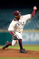 Arizona State's Brian Flores (34) delivers a pitch versus Texas A&M at the 2007 Houston College Classic at Minute Maid Park in Houston, TX, Friday, February 9, 2007.  Arizona State defeated Texas A&M 5-4.