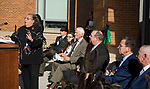 WATERBURY, CT-101317JS13-- Daisy Cocco De Filippis, President of Naugatuck Valley Community College, welcomes guests and dignitaries to the dedication of the Naugatuck Valley Community College's new Center for Hearth Sciences at Founders Hall and the Joseph V. Faryniarz Quadrangle Friday, at the Waterbury campus. <br /> Jim Shannon Republican-American
