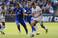 Jake Bidwell of Swansea City (R) runs forward during the Sky Bet Championship match between Swansea City and Cardiff City at the Liberty Stadium, Swansea, Wales, UK. Sunday 27 October 2019