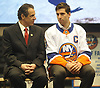 New York State Governor Andrew Cuomo, left, chats with New York Islanders captain John Tavares during a news conference at Nassau Coliseum on Monday, Jan. 29, 2018. Cuomo announced the site will host a portion of Islanders home games over the next three seasons as the team's new arena at Belmont is being constructed.