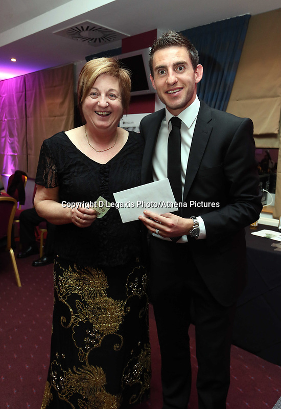 Pictured: Angel Rangel with his mother. Wednesday 10 April 2013<br /> Re: Swansea footballer Angel Rangel and wife Nicky's cancer charity fundraising dinner at the Liberty Stadium.