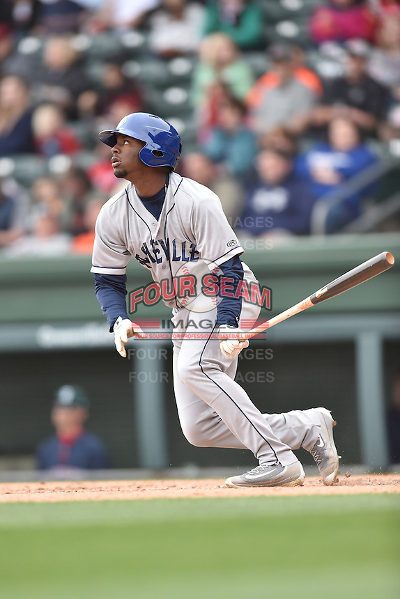 Asheville Tourists center fielder Terry McClure (5) swings at a pitch during a game against the  Greenville Drive at Fluor Field on April 10, 2016 in Greenville South Carolina. The Drive defeated the Tourists 7-4. (Tony Farlow/Four Seam Images)