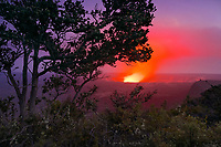 Halema'uma'u Crater, glowing red with lava at twilight from the rim of the Kilaueau Crater, Kilauea, Hawaii Volcanoes National Park, Big Island, Hawaii, USA