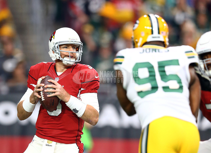 Dec 27, 2015; Glendale, AZ, USA; Arizona Cardinals quarterback Carson Palmer drops back to pass in the first quarter against the Green Bay Packers at University of Phoenix Stadium. Mandatory Credit: Mark J. Rebilas-USA TODAY Sports