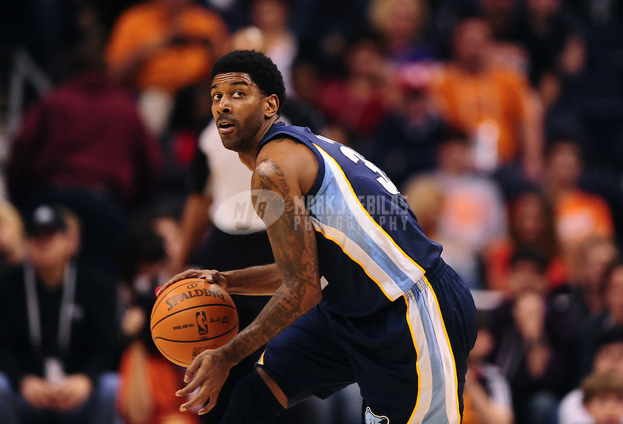 Jan. 28, 2012; Phoenix, AZ, USA; Memphis Grizzlies guard O.J. Mayo against the Phoenix Suns at the US Airways Center. The Suns defeated the Grizzlies 86-84. Mandatory Credit: Mark J. Rebilas-USA TODAY Sports