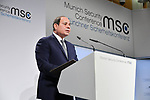 A handout picture released by the Egyptian Presidency shows Abdel Fatah al-Sisi, the President of the Arab Republic of Egypt and Chairperson of the African Union (AU), addressing the 55th Munich Security Conference (MSC), in Munich, Germany, 16 February 2019. International politicians, security experts and guests from all over the world will discuss global security issues in the annual meeting from 15 to 17 February 2019. Photo by Egyptian President Office