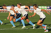 Piscataway, NJ - Wednesday Sept. 07, 2016: Kristin Grubka, Christie Rampone, Shawna Gordon prior to a regular season National Women's Soccer League (NWSL) match between Sky Blue FC and the Orlando Pride FC at Yurcak Field.