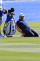 Jon Rahm (ESP) stretches out on the 18th hole at Pebble Beach course during Friday's Round 2 of the 2018 AT&amp;T Pebble Beach Pro-Am, held over 3 courses Pebble Beach, Spyglass Hill and Monterey, California, USA. 9th February 2018.<br /> Picture: Eoin Clarke | Golffile<br /> <br /> <br /> All photos usage must carry mandatory copyright credit (&copy; Golffile | Eoin Clarke)